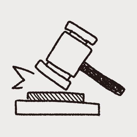 martillo juez: doodle de la subasta Vectores