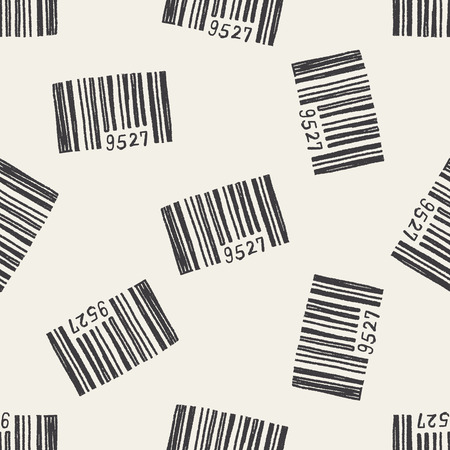 doodle barcode seamless pattern background Vector