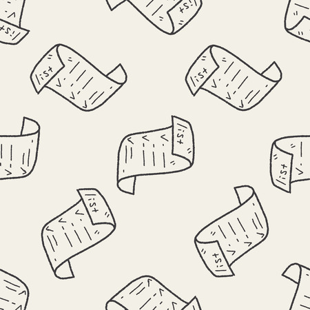 invoice doodle seamless pattern background Vector