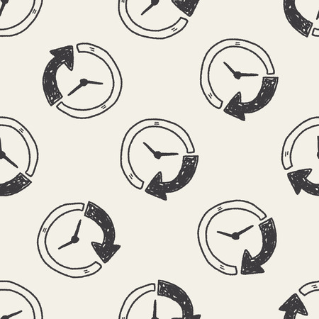 time: time doodle seamless pattern background Illustration
