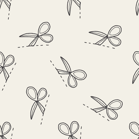 scissors cut doodle seamless pattern background Vector