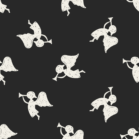 christmas backdrop: angel doodle seamless pattern background