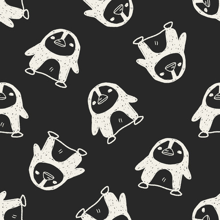 penguin doodle seamless pattern background Vector