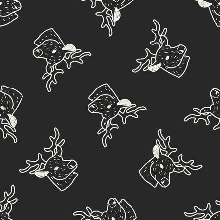 reindeer doodle seamless pattern background Vector