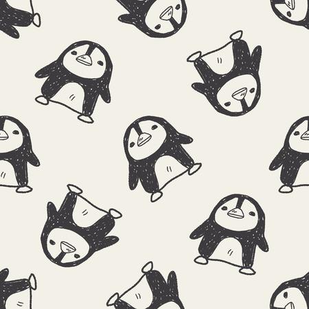 penguin doodle seamless pattern background Vector