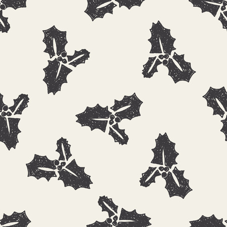 poinsettia: poinsettia doodle seamless pattern background Illustration