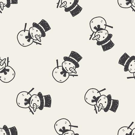 bonhomme de neige: doodle bonhomme seamless fond Illustration