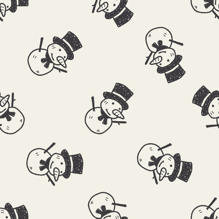snowman background: snowman doodle seamless pattern background