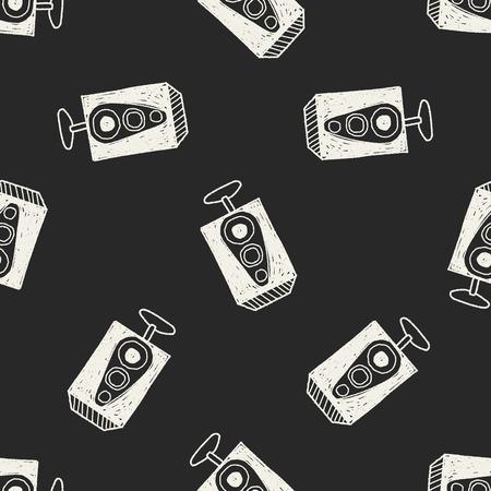 woofer: speaker doodle seamless pattern background
