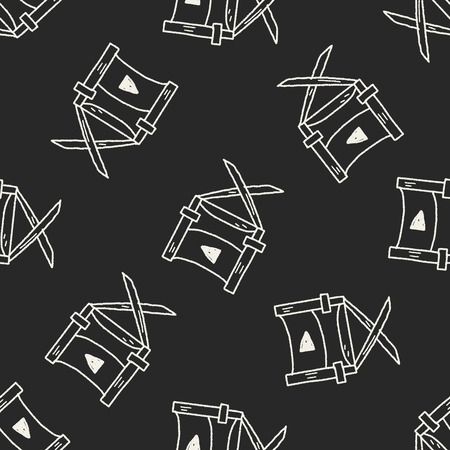 director's chair: Directors chair doodle seamless pattern background Illustration