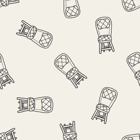 chair doodle seamless pattern background Vector