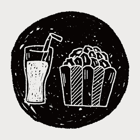 coke: popcorn and drink doodle