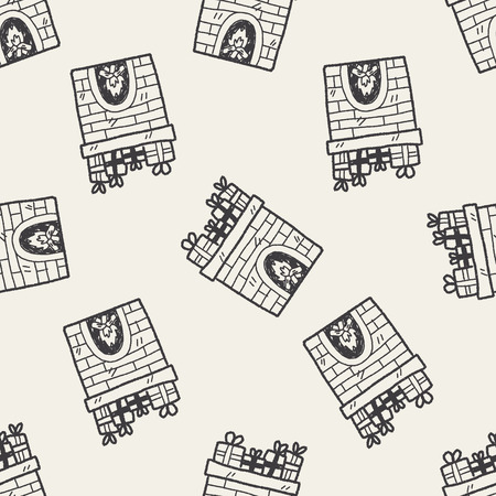 Fireplace doodle seamless pattern background Vector