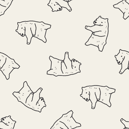 polar bear doodle seamless pattern background Vector