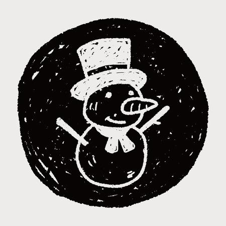 snowman doodle Vector