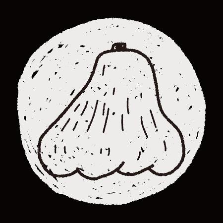 Wax apple doodle Vector