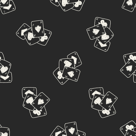 Doodle Poker seamless pattern background Vector