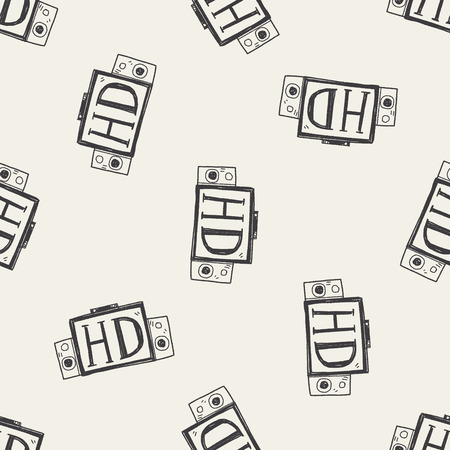 hd tv: HD TV doodle seamless pattern background