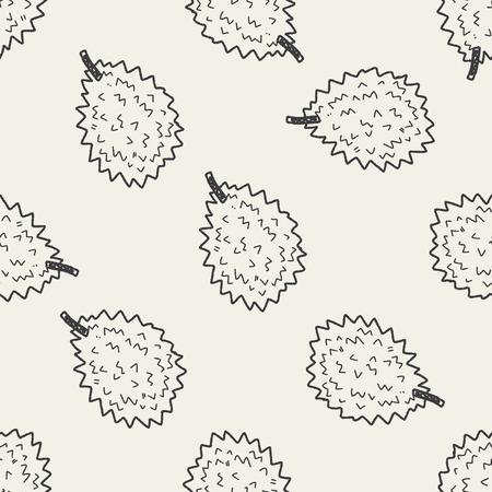 Durian: doodle Durian nền hoa văn liền mạch