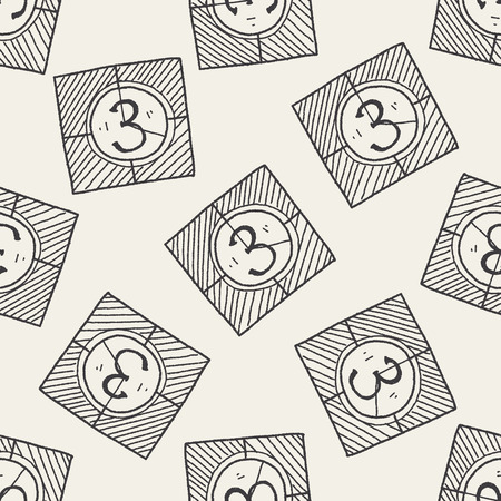 countdown: film countdown doodle seamless pattern background