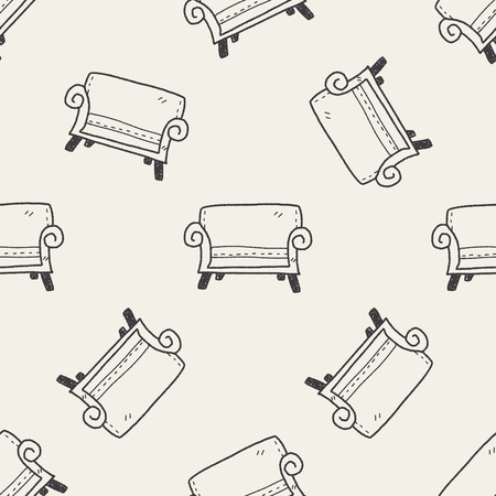 sofa: sofa doodle seamless pattern background Illustration