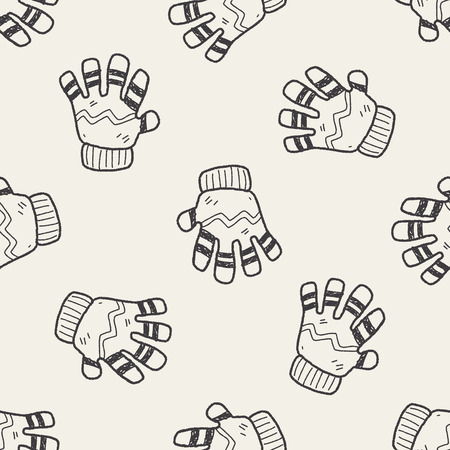 winter gloves: winter gloves doodle seamless pattern background Illustration