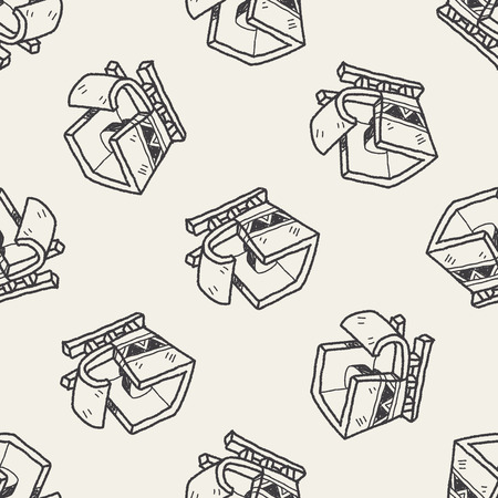 sleigh doodle seamless pattern background Vector