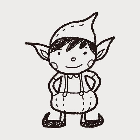 Kerstmiself doodle Stock Illustratie