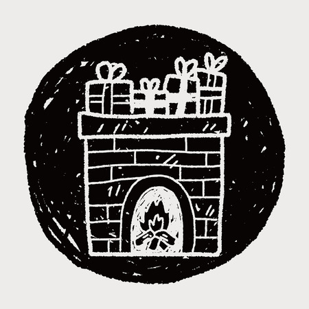 Fireplace doodle Vector