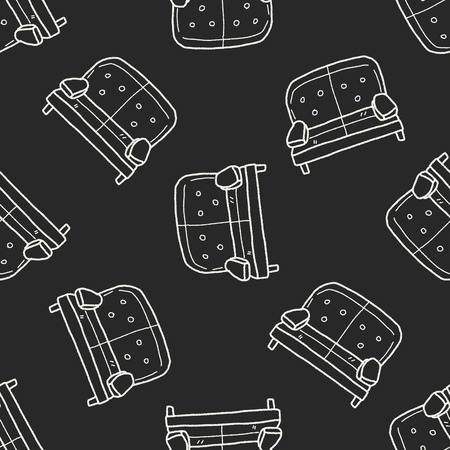 sofa doodle seamless pattern background Vector