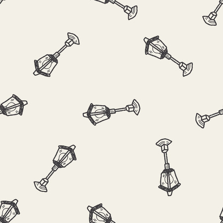 street lamp doodle seamless pattern background Vector