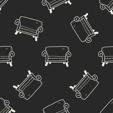 sofa doodle seamless pattern background photo