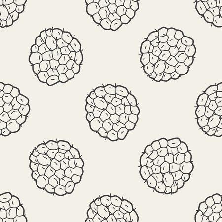 custard: Custard apple doodle seamless pattern background