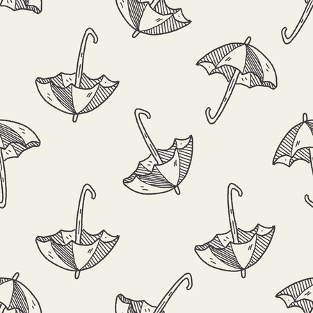paper umbrella: umbrella doodle drawing seamless pattern background