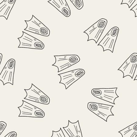 flippers: aletas doodle de fondo sin fisuras patr�n