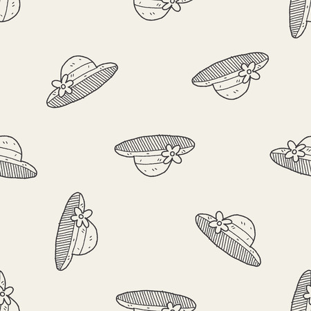 straw hat: doodle Straw hat seamless pattern background