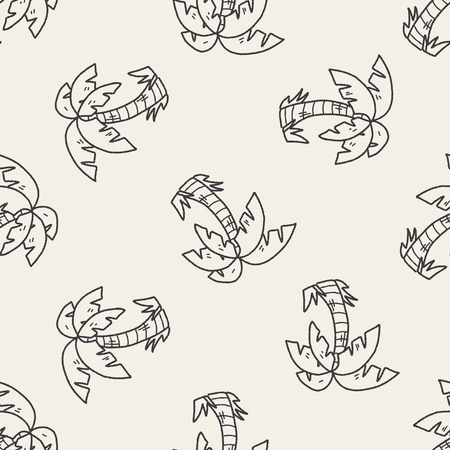 coconut tree: doodle coconut tree seamless pattern background
