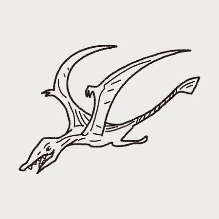 Pterodactyl dinosaur doodle Vector