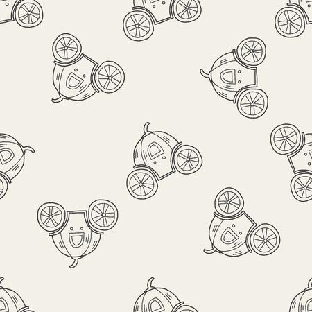 cinderella pumpkin: Pumpkin carriage doodle seamless pattern background