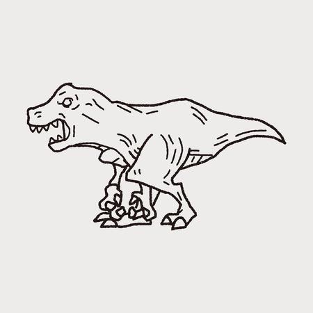 Tyrannosaurus dinosaur doodle Vector