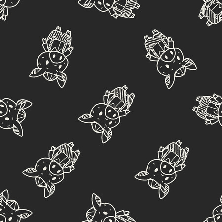 3 little pigs: three little pigs doodle seamless pattern background Illustration