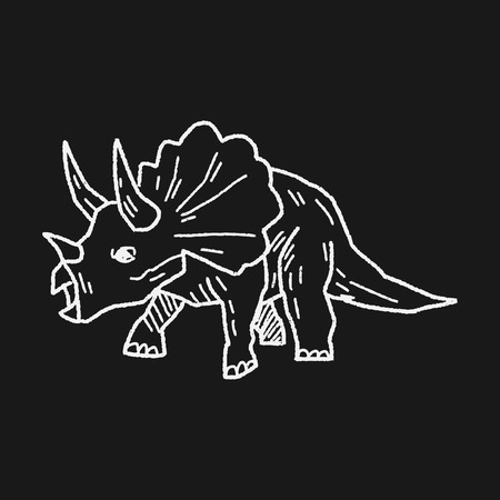 Triceratops dinosaur doodle Vector