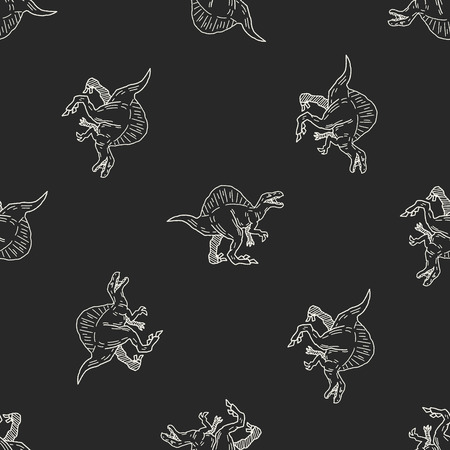 Spinosaurus dinosaur doodle seamless pattern background Vector