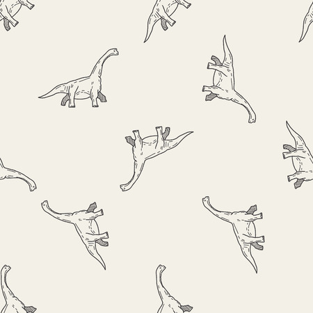 Brontosaurus dinosaur doodle seamless pattern background Vector
