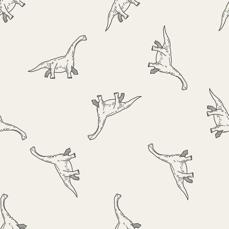 brontosaurus: Brontosaurus dinosaur doodle seamless pattern background Illustration