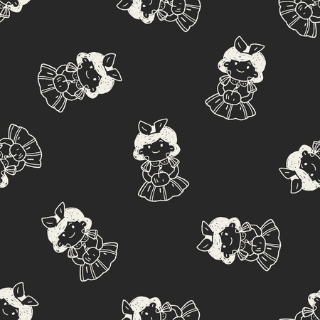 snow white doodle seamless pattern background