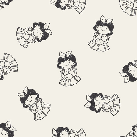 seven dwarfs: snow white doodle seamless pattern background