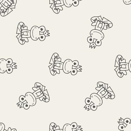 frog prince: frog prince doodle seamless pattern background Illustration