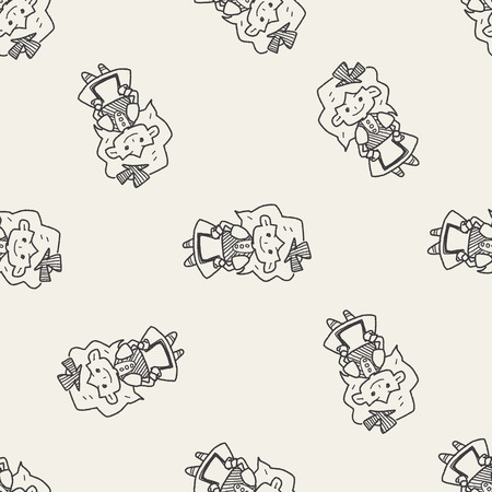 alice: alice in wonderland doodle seamless pattern background