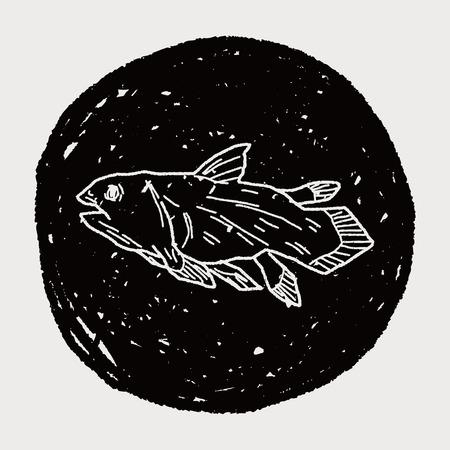 fish dinosaur doodle Vector